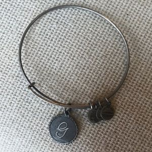 Alex and Ani silver G charm bangle